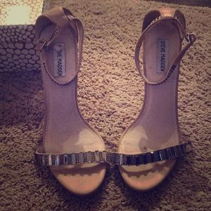 Steve Madden, jeweled nude shoes